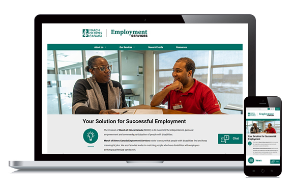 MODC Employment Services website on a laptop and cellphone