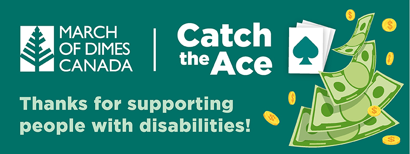 Catch the Ace banner with money falling