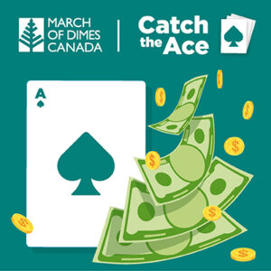 Catch the Ace - Ace of spades with money falling