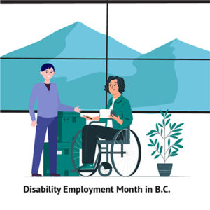 Illustration two people at work one standing one in a wheelchair