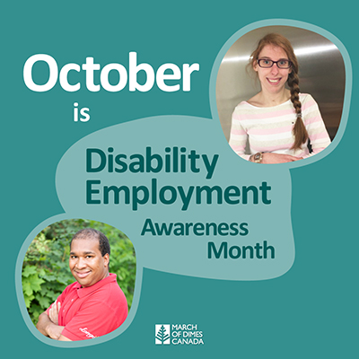 2 smiling people - October is Disability Employment Awareness Month